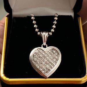 Jewelry - Heart Shaped Princess Cut Diamond Charm w/Necklace